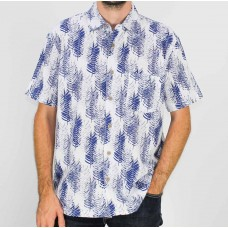 Kingston Grange White Navy Pines Short Sleeve Shirt- Front