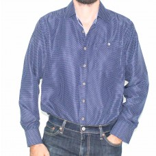 Portobello Long Sleeve Navy Print Shirt-Front