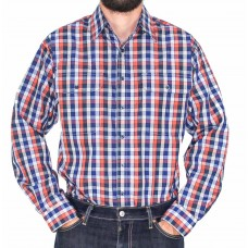 Bisley Orange Long Sleeve Check Shirt-front