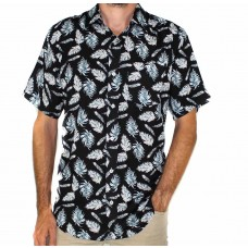 Lifestyle Short Sleeve Bamboo Land Leaf Print Shirt -Front