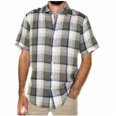 Back Bay Cotton Linen Check Short Sleeve Shirt-FRONT