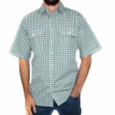 Bisley Seer Sucker Medium Check Green Short Sleeve Shirt-Front