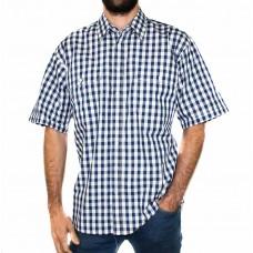 Bisley Medium Check Navy/White Short Sleeve Shirt-Front