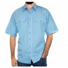 Bisley Small Check Green Short Sleeve Shirt-Front