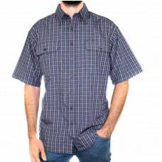 Bisley Small Check Navy Short Sleeve Shirt -Front