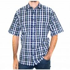 Bisley Medium Check Navy Short Sleeve Shirt-Front