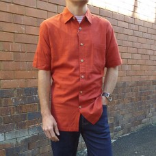 Kingston Grange Plain Bamboo Shirts In Rust