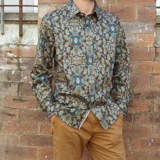 NEW Carlo Cimino Long Sleeve Chocolate Geometric Printed Shirt