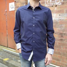 Carlo Cimino Navy Self Print Long Sleeve Shirt