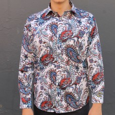 David Smith Royal Print Long Sleeve Sleeve Shirt