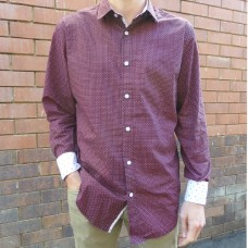 Eddie Wood Burgundy Diamond Print Shirt