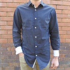 Eddie Wood Navy Dot Print Shirt