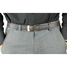 Buckle Finett Leather Belt With Gold Buckle