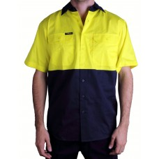 Bisley 2 Tone Light Weight Drill Shirt Short Sleeve