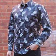 John Lennon By English Laundry Long Sleeve Hucknall Paisley Print Shirt Side