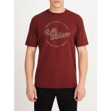RM Williams Burgundy Short Sleeve Script Stamp Tee-FRONT