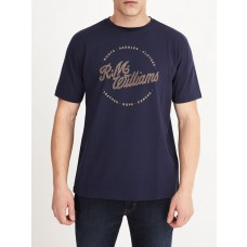 RM Williams Navy Short Sleeve Script Stamp Tee-Front