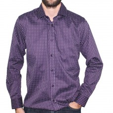 Valour Long Sleeve Cotton Print Shirt Plum Hero