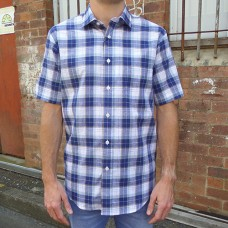 Nickel Navy/Taupe Checked Short Sleeve Shirt