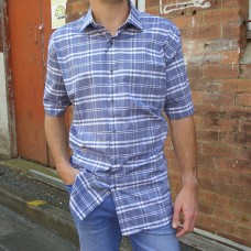 Nickel Light Navy Checked Short Sleeve Shirt