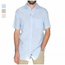 Michel Rouen Short Sleeve Linen Shirts-Hero