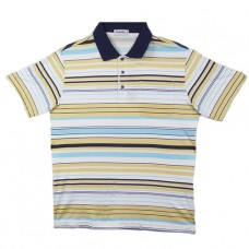 Maurio Poly/Cotton Short Sleeve Striped Polo-Yellow