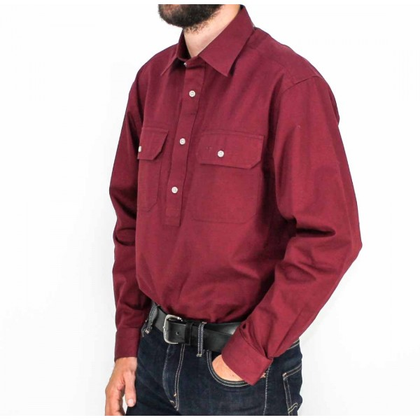 RM Williams Long Sleeve Longhorn Brigalow Shirt- Side