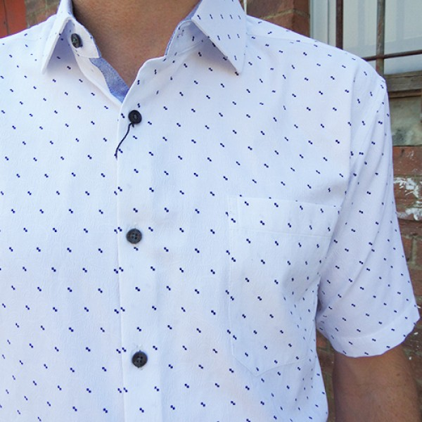 Maurio White Paisley Short Sleeve Shirt