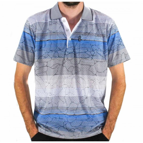 Label One Short Sleeve Printed Polo  Front