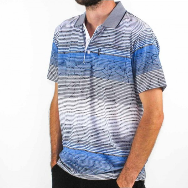 Label One Short Sleeve Printed Polo  Side