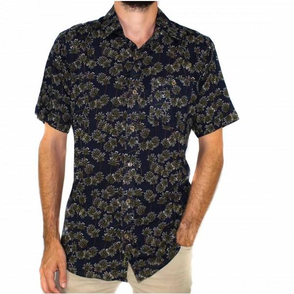 Lifestyle Short Sleeve Bamboo Land Olive Leaf Shirt-FRONT