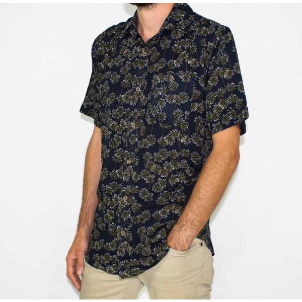 Lifestyle Short Sleeve Bamboo Land Olive Leaf Shirt-SIDE