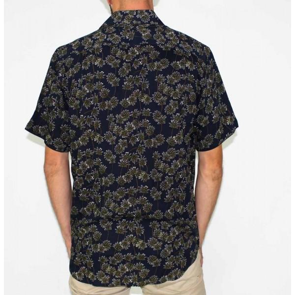 Lifestyle Short Sleeve Bamboo Land Olive Leaf Shirt-BACK