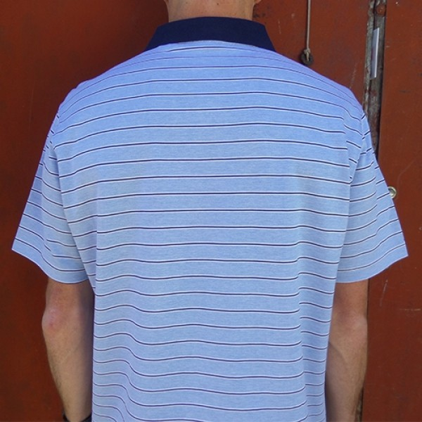 Maurio Poly/Cotton Short Sleeve Thick Striped Polo