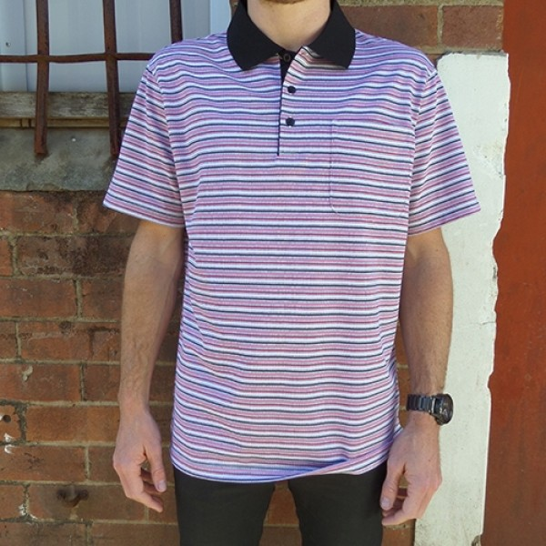 Maurio Poly/Cotton Short Sleeve Thin Multi Striped Polo