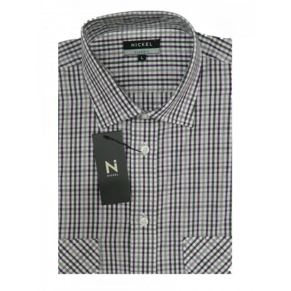 Nickel Short Sleeve Double Pocket Taupe Checked Shirt