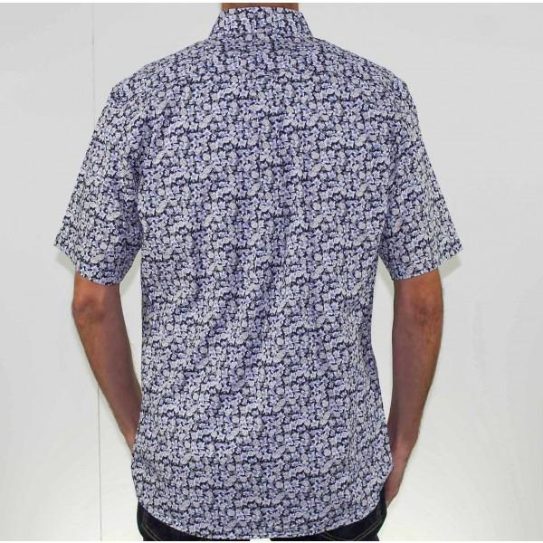 Stafford Ellinson Short Sleeve Flower Print Shirt Back