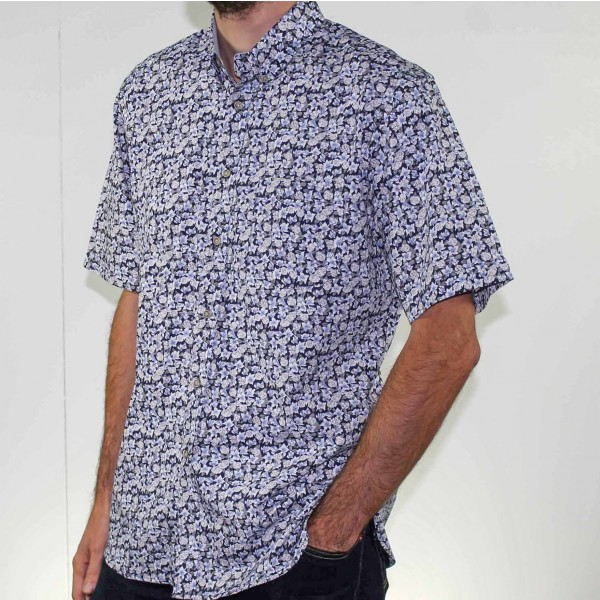 Stafford Ellinson Short Sleeve Flower Print Shirt Side