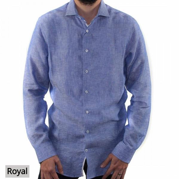 Abelard Long Sleeve Locapo Linen Shirt Front