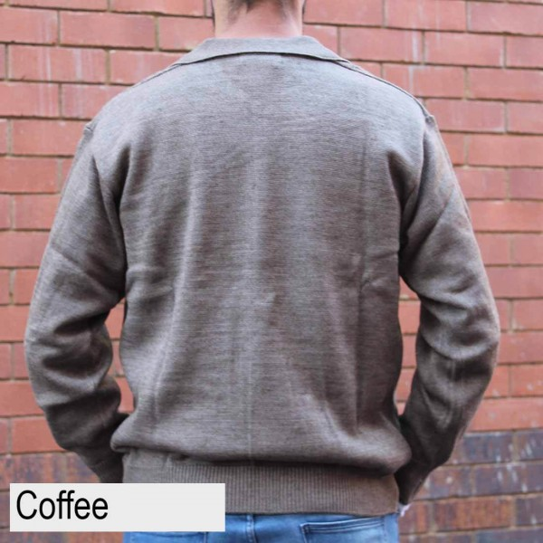 Anset Acrylic Wool Cardigan Coffee Back