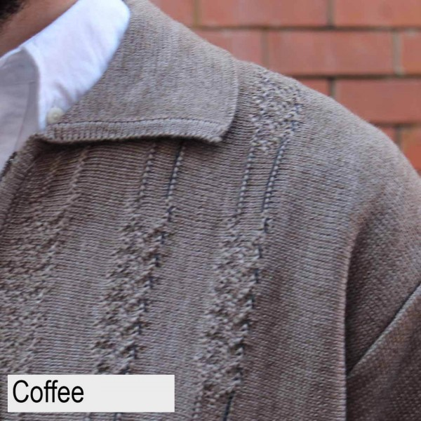 Anset Acrylic Wool Cardigan Coffee Close Up