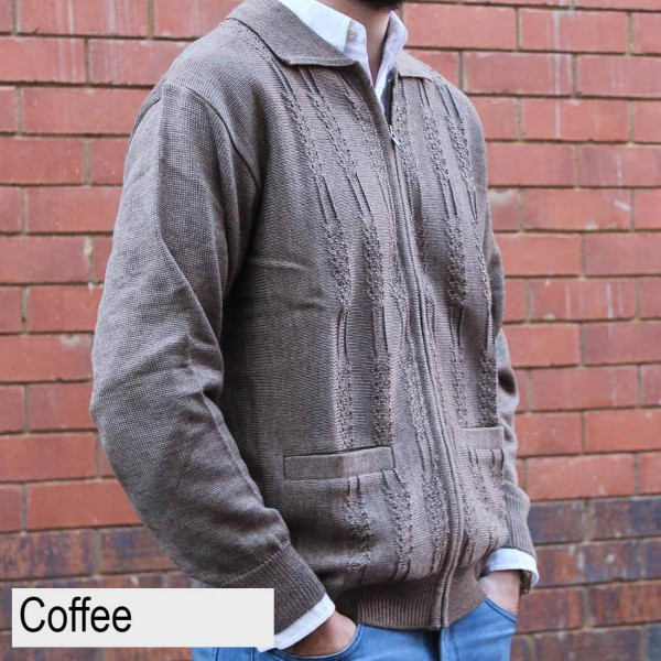 Anset Acrylic Wool Cardigan Coffee Side