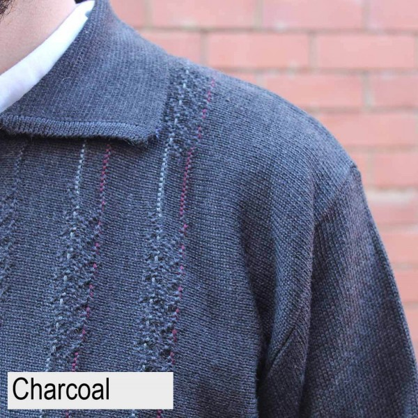 Anset Acrylic Wool Cardigan Charcoal Close up
