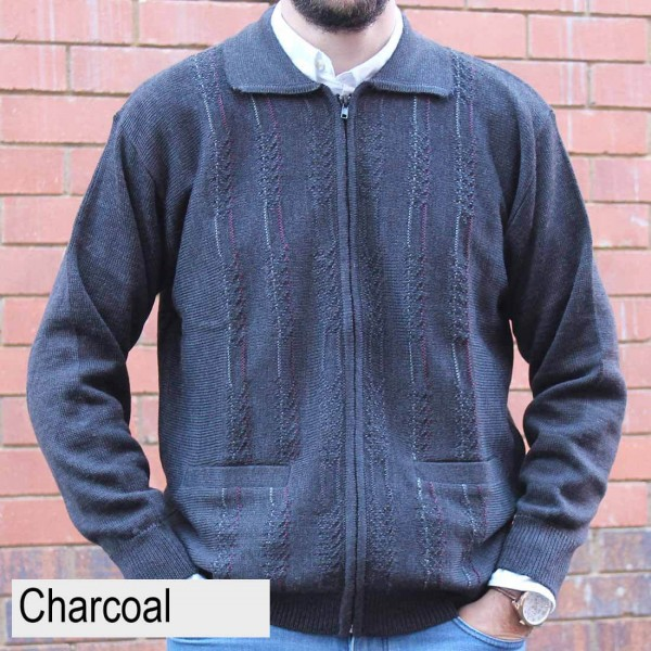 Anset Acrylic Wool Cardigan Charcoal Front