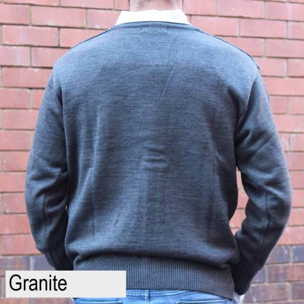 Anset Acrylic Wool Zip-up Cardigan Granite Back
