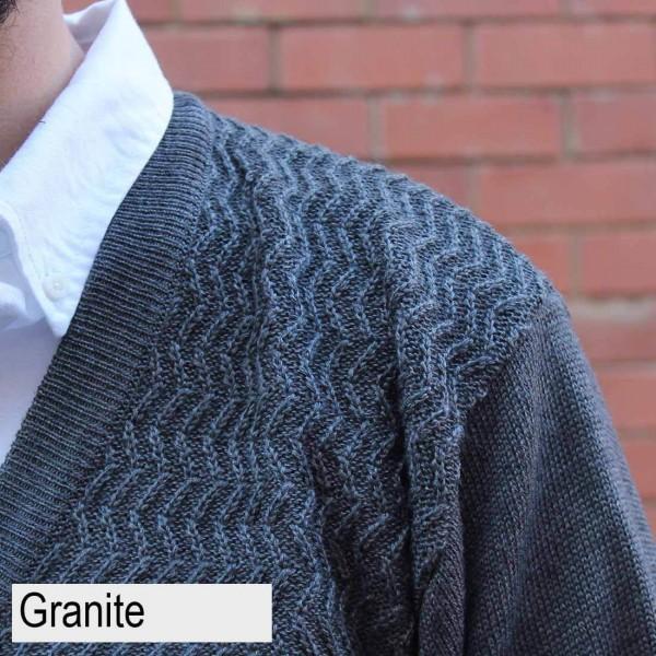 Anset Acrylic Wool Zip-up Cardigan Granite Close up