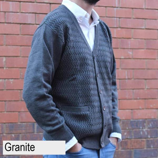 Anset Acrylic Wool Zip-up Cardigan Granite Side