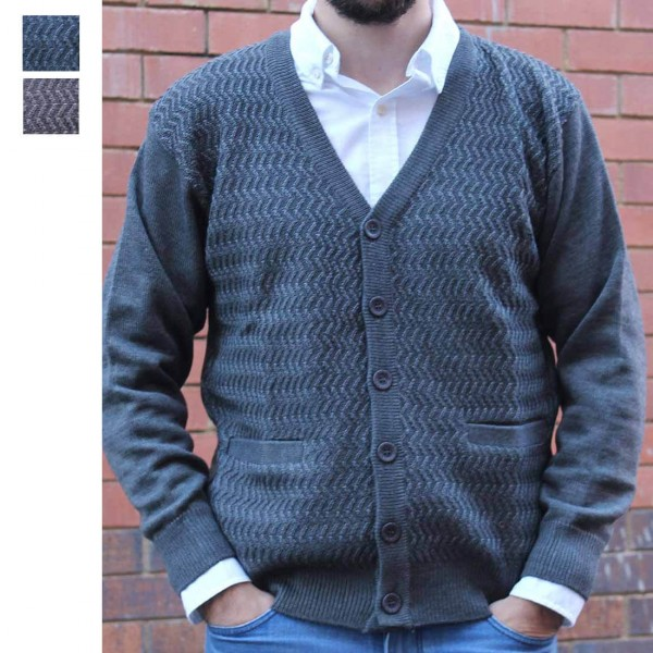 Anset Acrylic Wool Zip-up Cardigan Granite Thumbnail