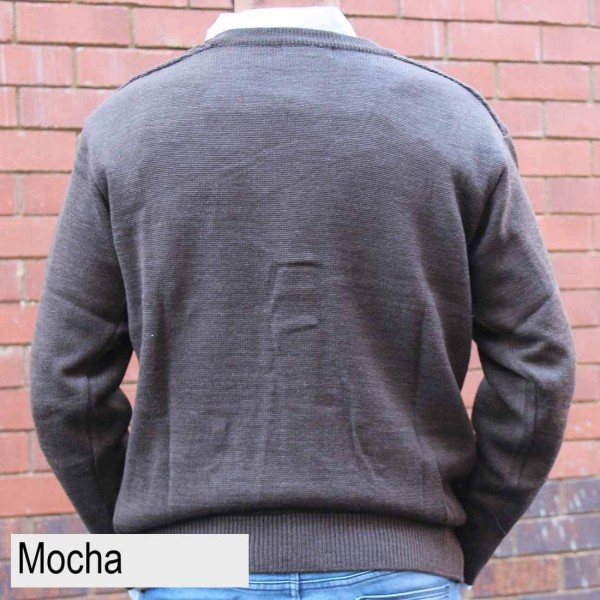 Anset Acrylic Wool Zip-up Cardigan Mocha Back
