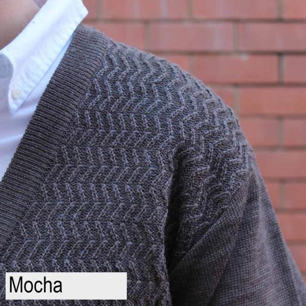 Anset Acrylic Wool Zip-up Cardigan Mocha Close Up